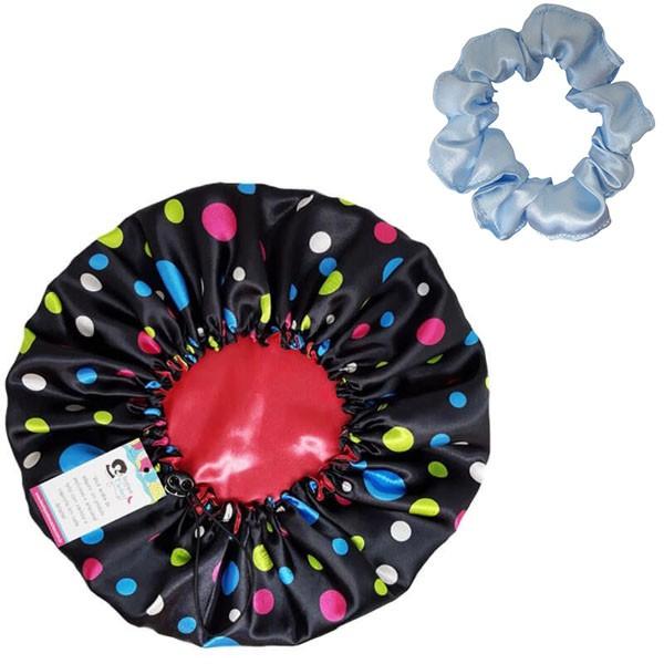 Kit 1 Touca Poá Colorido e 1 Xuxinha Azul Claro
