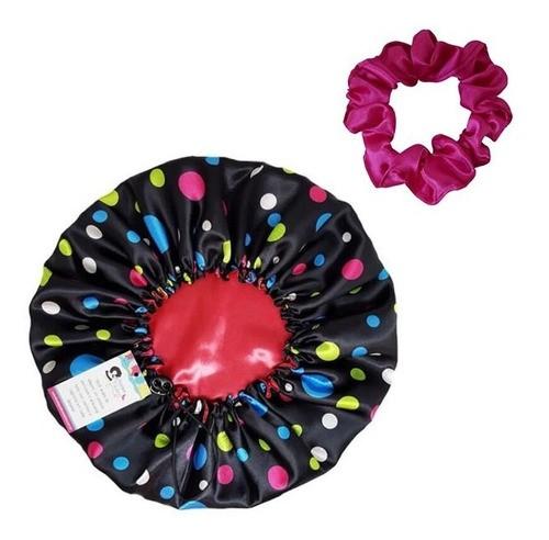Kit 1 Touca Poá Colorido e 1 Xuxinha Pink