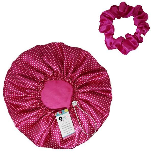 Kit 1 Touca Poá Rosa e 1 Xuxinha Pink