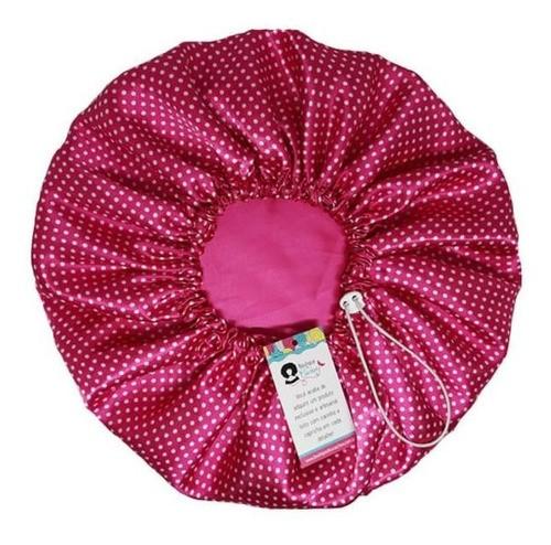 Kit 1 Touca Poá Rosa e 1 Xuxinha Poá Rosa