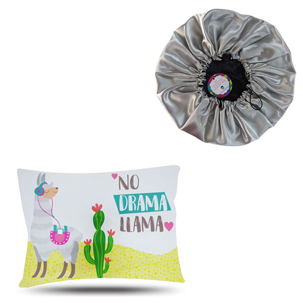 Kit 1 Touca Prata e 1 Fronha Lhama