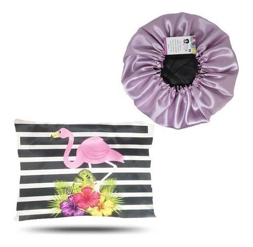 Kit 1 Touca Rosa Bebê e 1 Fronha Flamingos