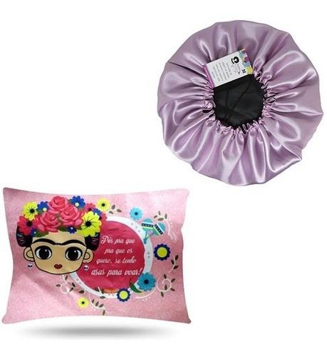 Kit 1 Touca Rosa Bebê e 1 Fronha Frida