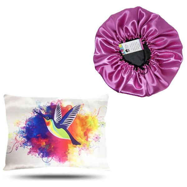 Kit 1 Touca Rosa Chiclete e 1 Fronha Beija-Flor