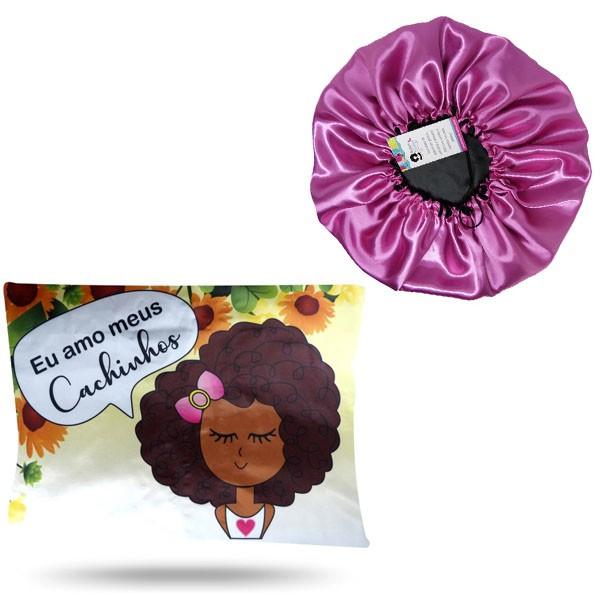 Kit 1 Touca Rosa Chiclete e 1 Fronha Cachinhos III