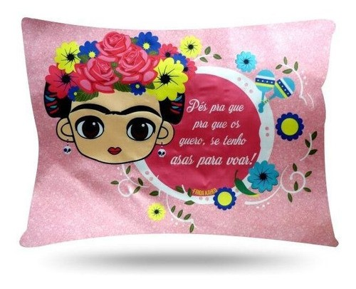 Kit 1 Touca Rosa Chiclete e 1 Fronha Frida