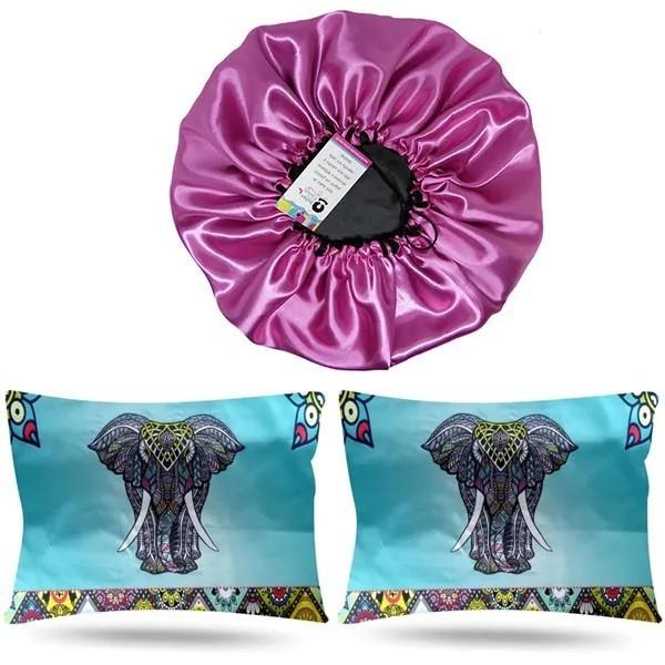 Kit 1 Touca Rosa Chiclete e 2 Fronhas Elefante