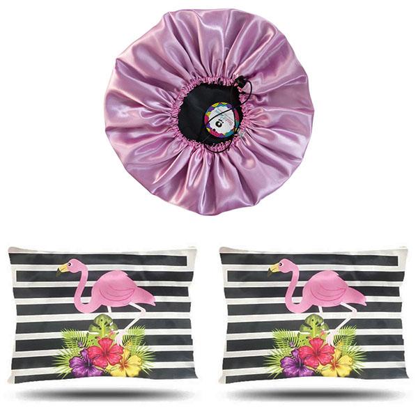 Kit 1 Touca Rosa Chiclete e 2 Fronhas Flamingos