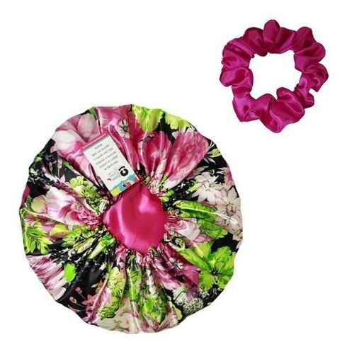 Kit 1 Touca Rosa Floral e 1 Xuxinha Pink