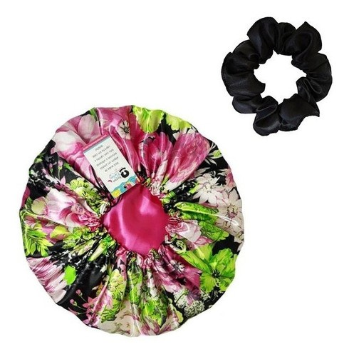 Kit 1 Touca Rosa Floral e 1 Xuxinha Preta