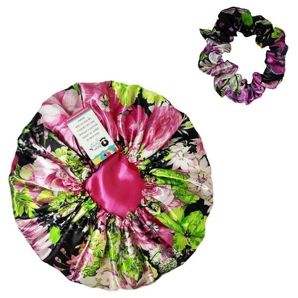 Kit 1 Touca Rosa Floral e 1 Xuxinha Rosa Floral