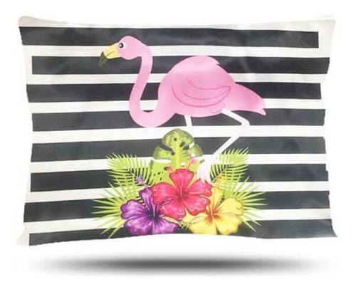 Kit 1 Touca Roxa e 1 Fronha Flamingos