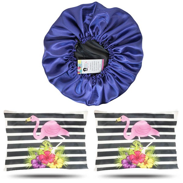 Kit 1 Touca Roxa e 2 Fronhas Flamingos