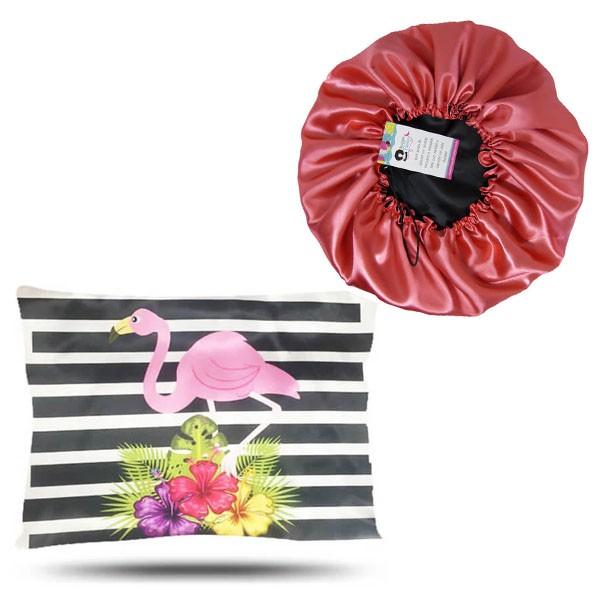 Kit 1 Touca Salmão e 1 Fronha Flamingos