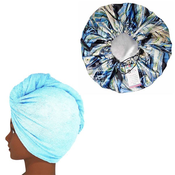Kit 1 Turbante Azul Claro G e 1 Touca Abstrata B