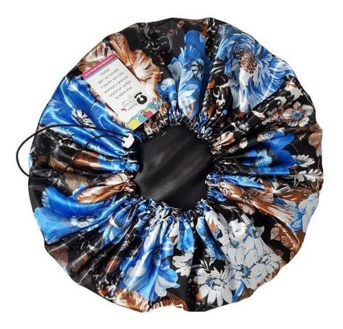 Kit 1 Turbante Azul Claro G e 1 Touca Floral Azul II