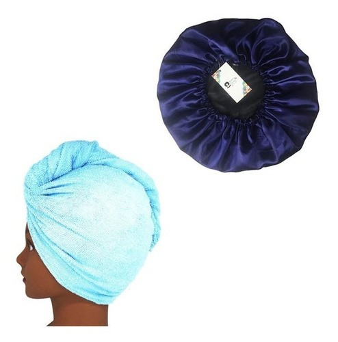 Kit 1 Turbante Azul Claro P e 1 Touca Azul Escuro