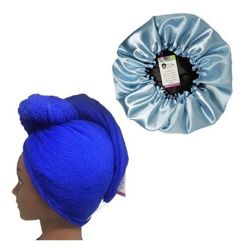 Kit 1 Turbante Azul Royal e 1 Touca Azul Claro