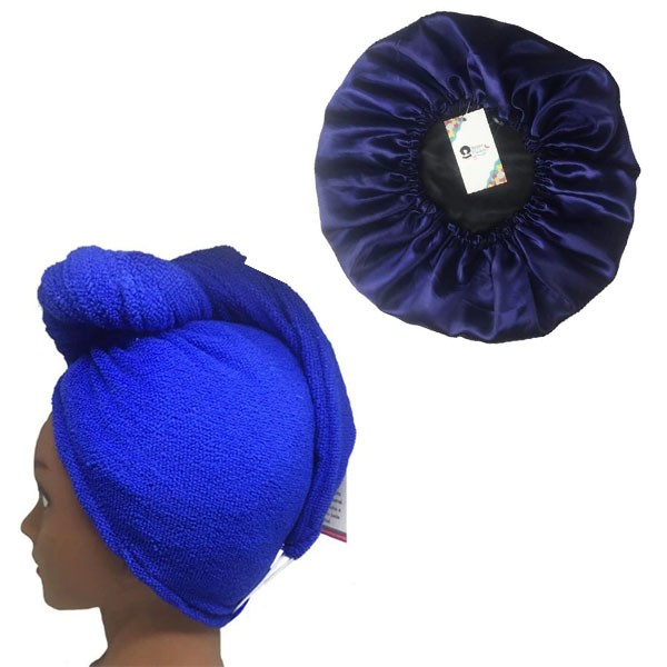 Kit 1 Turbante Azul Royal G e 1 Touca Azul Escuro