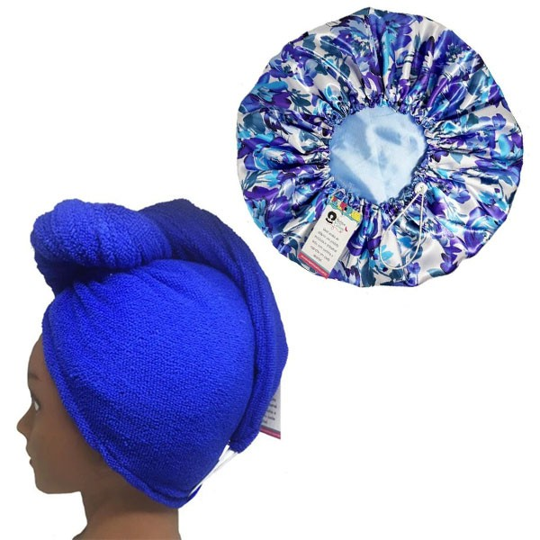 Kit 1 Turbante Azul Royal G e 1 Touca Floral Azul I