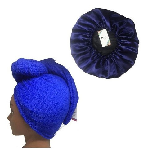 Kit 1 Turbante Azul Royal P e 1 Touca Azul Escuro