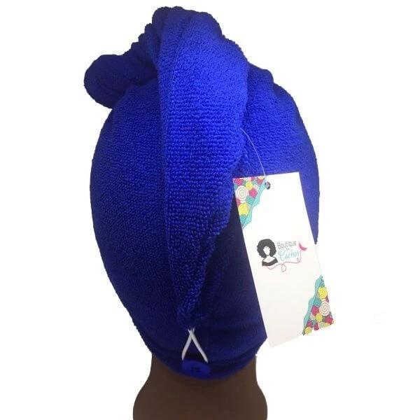 Kit 1 Turbante Azul Royal P e 1 Touca Azul Estrela