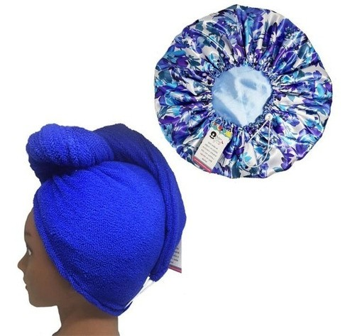 Kit 1 Turbante Azul Royal P e 1 Touca Floral Azul I