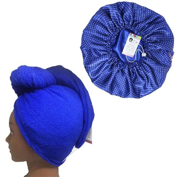 Kit 1 Turbante Azul Royal P e 1 Touca Poá Azul Royal