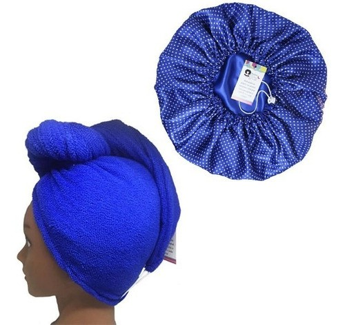 Kit 1 Turbante Azul Royal P e 1 Touca Poá Azul Royal