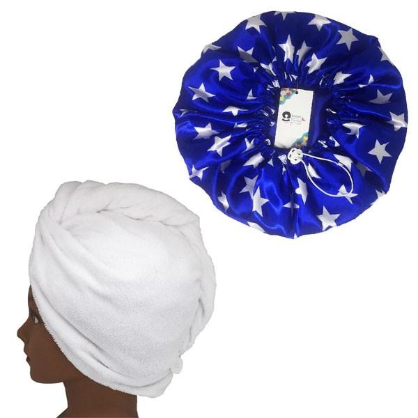 Kit 1 Turbante Branca G e 1 Touca Azul Estrela