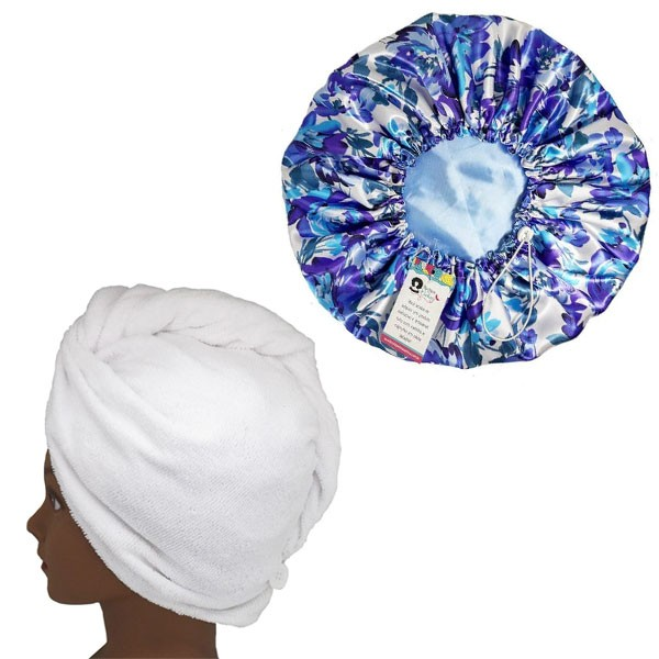 Kit 1 Turbante Branca G e 1 Touca Floral Azul I