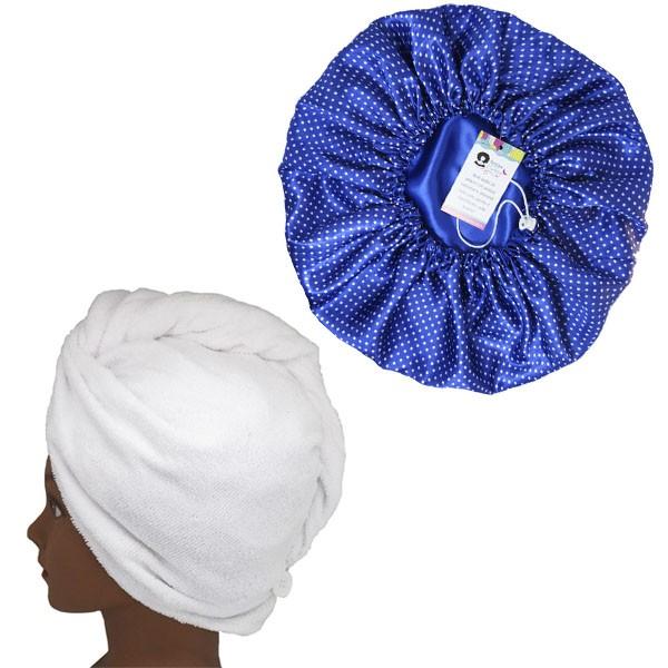 Kit 1 Turbante Branca G e 1 Touca Poá Azul Royal