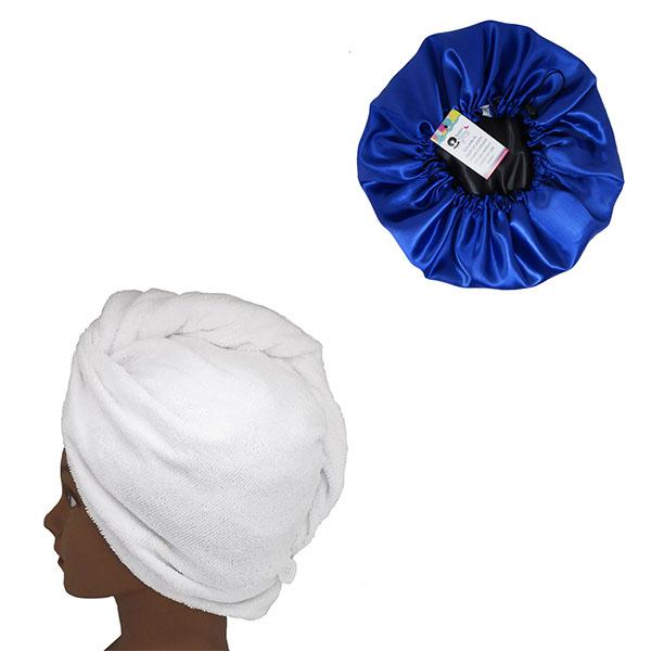 Kit 1 Turbante Branca P e 1 Touca Azul Escuro