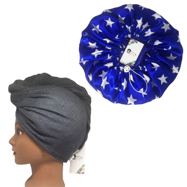 Kit 1 Turbante Cinza G e 1 Touca Azul Estrela
