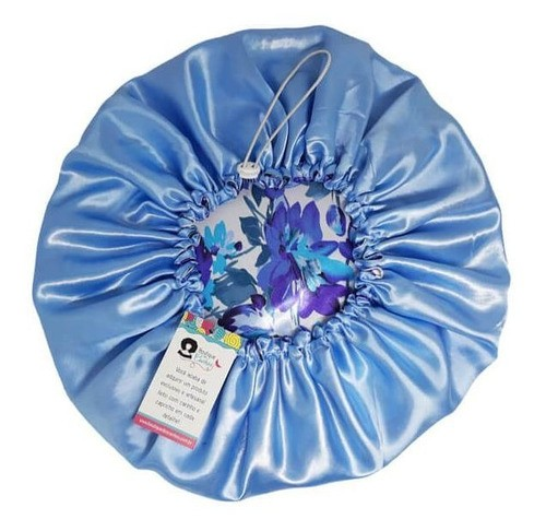 Kit 1 Turbante Cinza G e 1 Touca Floral Azul I