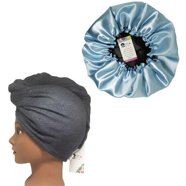 Kit 1 Turbante Cinza P e 1 Touca Azul Claro