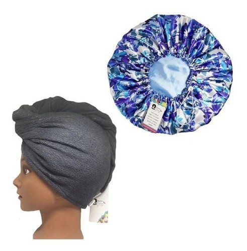 Kit 1 Turbante Cinza P e 1 Touca Floral Azul I