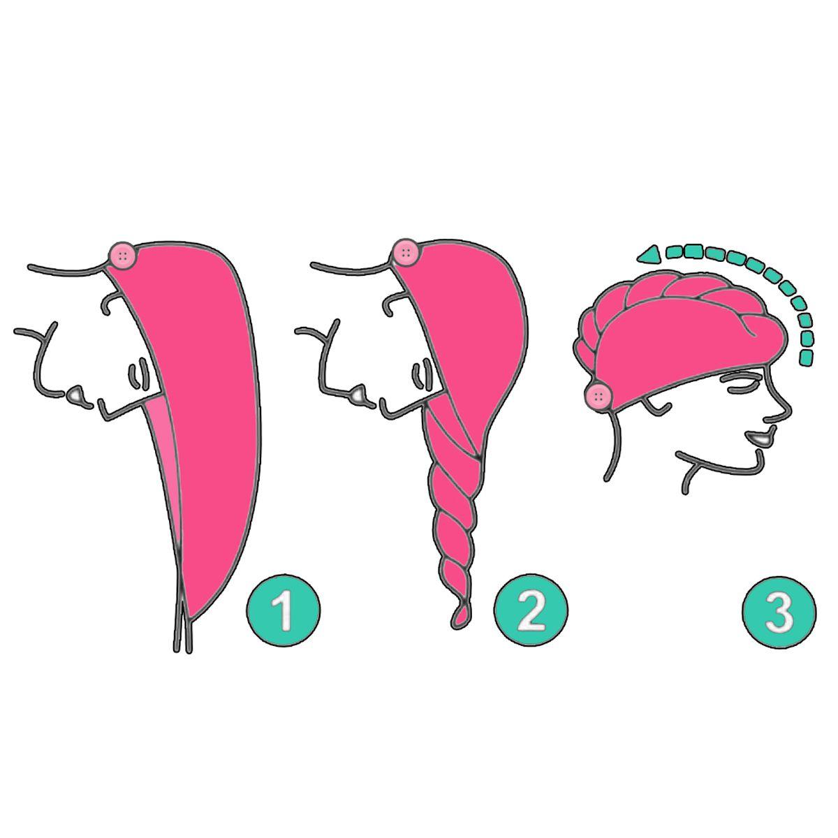 Kit 1 Turbante Pink P e 1 Touca Abstrata A