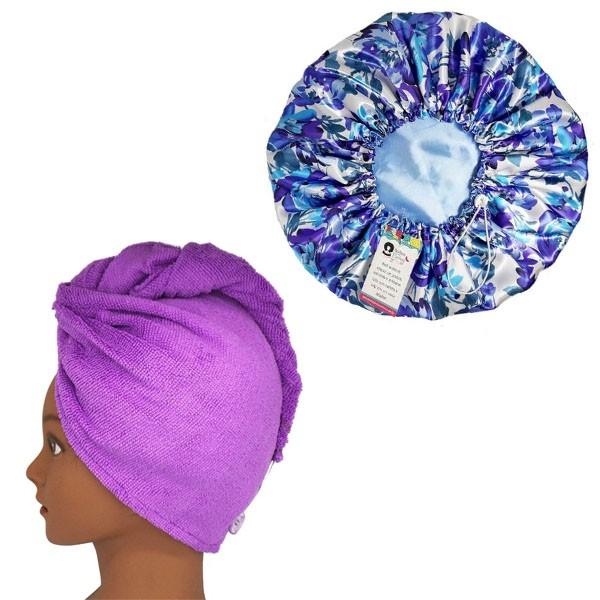 Kit 1 Turbante Roxo G e 1 Touca Floral Azul I