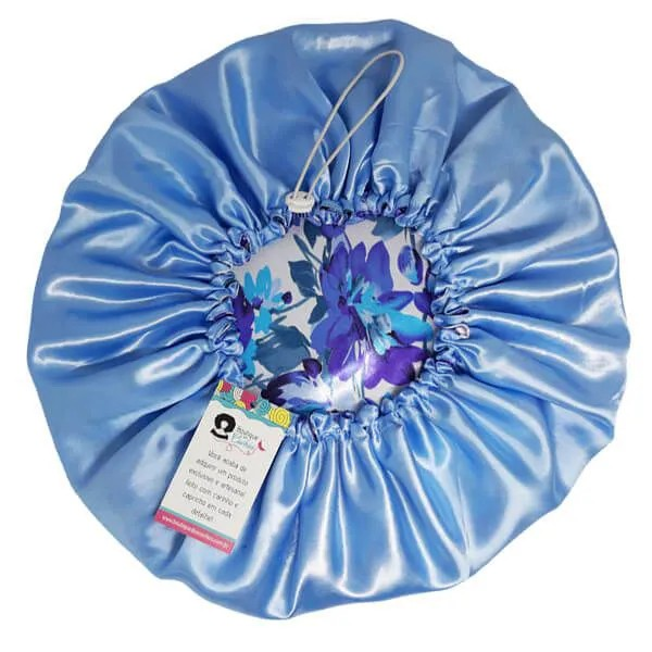 Kit 1 Turbante Roxo P e 1 Touca Floral Azul I