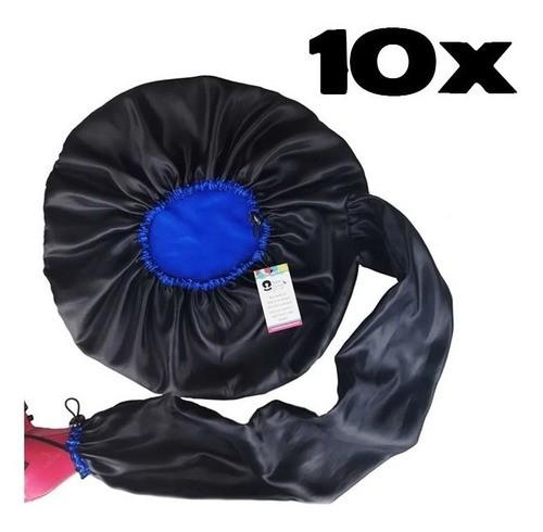 Kit com 10 Difusoras Toucas de Cetim - Preta com Azul