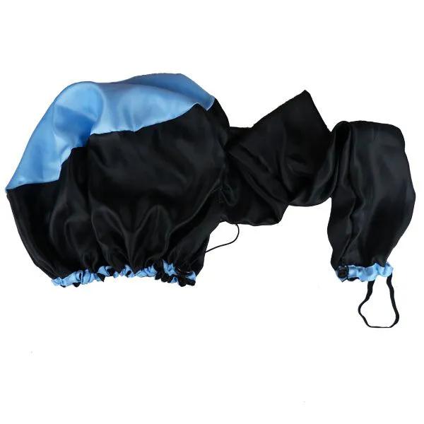 Kit com 10 Difusoras Toucas de Cetim - Preta com Azul Claro