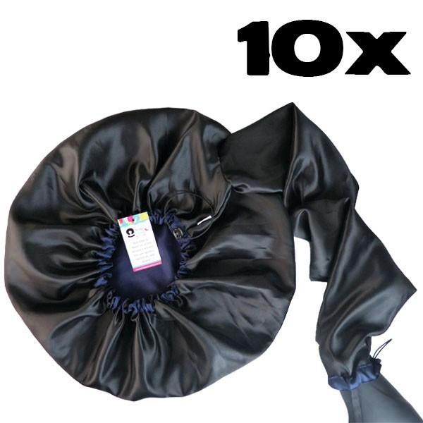 Kit com 10 Difusoras Toucas de Cetim - Preta com Azul Marinho