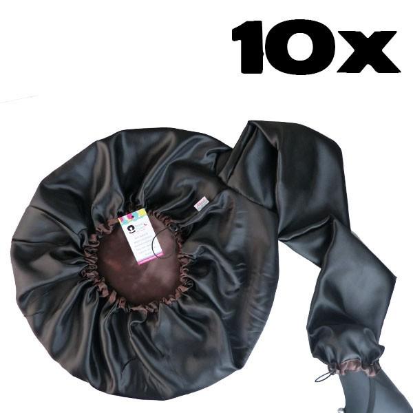 Kit com 10 Difusoras Toucas de Cetim - Preta com Marrom