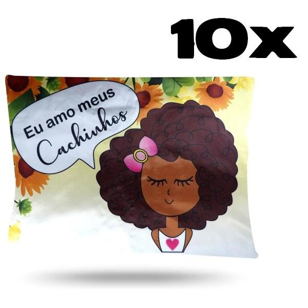 Kit com 10 Fronhas de Cetim - Amo Cachinhos II