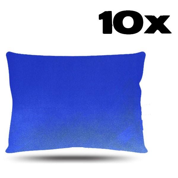 Kit com 10 Fronhas de Cetim - Azul Royal