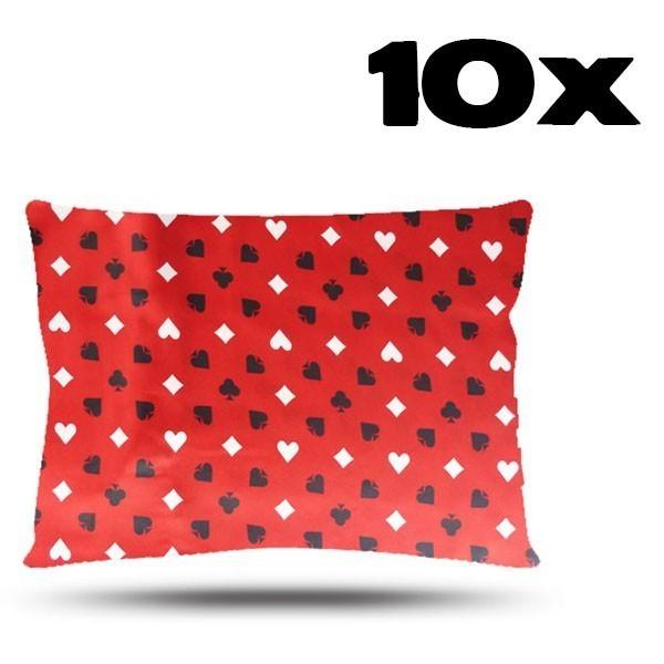 Kit com 10 Fronhas de Cetim - Copas Vermelho