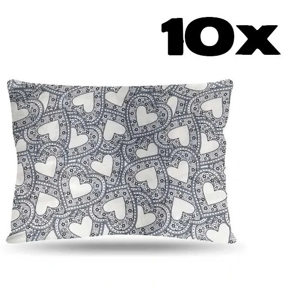 Kit com 10 Fronhas de Cetim - Corações Brancos