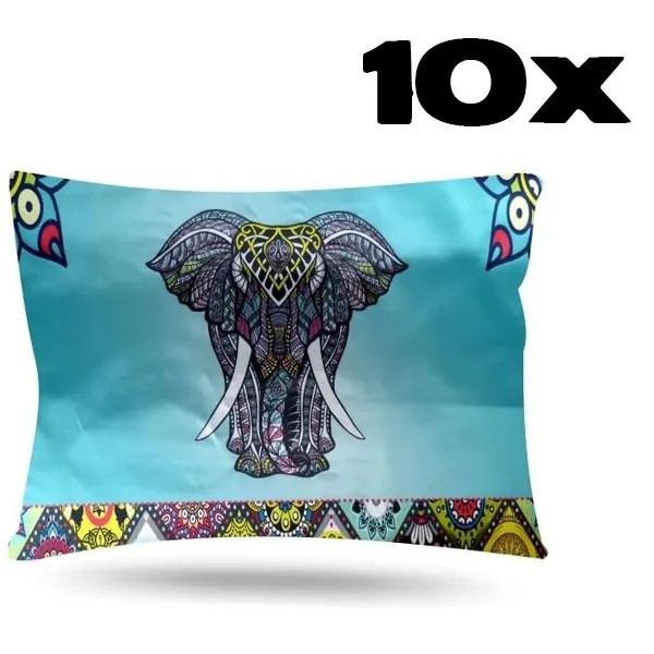 Kit com 10 Fronhas de Cetim - Elefante