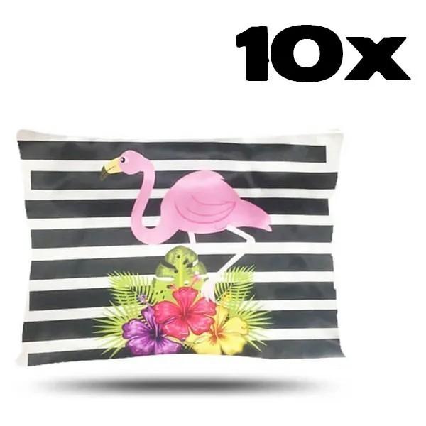 Kit com 10 Fronhas de Cetim - Flamingo e Listras